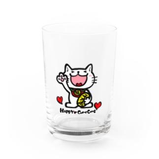 / HAPPYにゃんこ Water Glass