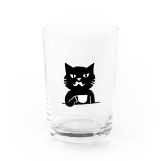 喫茶・髭猫ロゴ② Water Glass