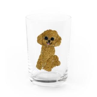 刺繍のトイプードル Water Glass