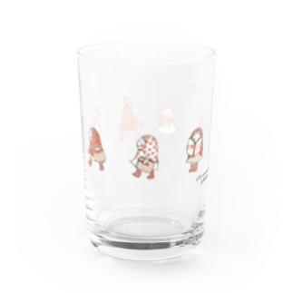 お散歩ずきんRed orange Water Glass