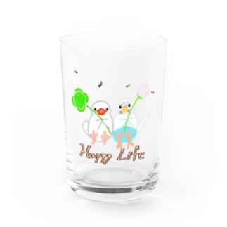 幸せ小鳥&シロツメクサ Water Glass