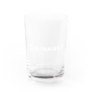BINANCE-バイナンス-白ロゴ バックプリントデザイン(背面プリント) Water Glass