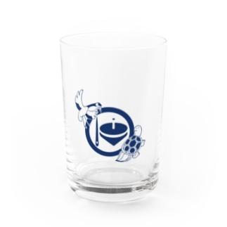 鶴亀(紺 Water Glass