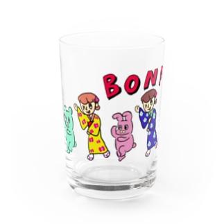 お盆ちゃんとお祭りうさぎ Water Glass