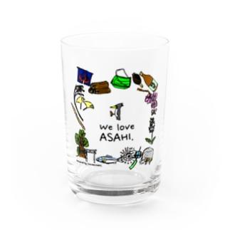 We Love ASAHI(旭Tシャツ表面のイラスト) Water Glass