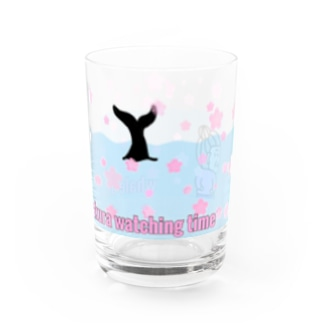 春のwhale watching time Water Glass