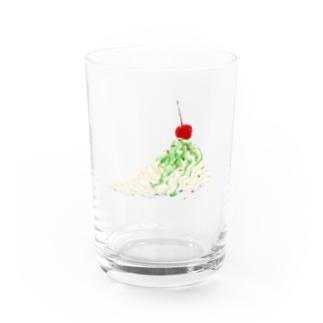 ホイップクリームとさくらんぼ Water Glass