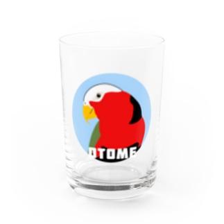 アルバトロスデザインのオトメズグロインコのヅラがでるでるグラス(ブルー) Water Glass前面