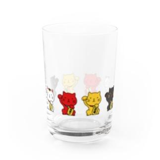 招き猫! Water Glass