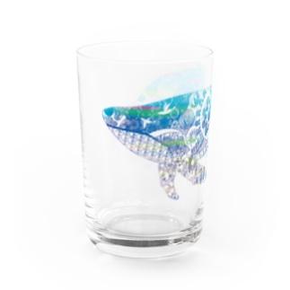 切り絵のクジラ Water Glass