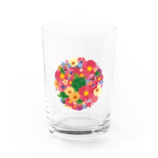Love Turtle Flower Circle Water Glass