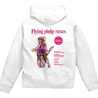 FLYING PINKY ROSES-VANILA Zip Hoodies