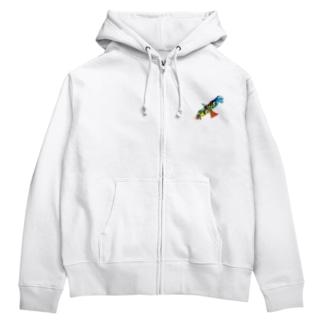 虹色の飛ぶ鳥 Zip Hoodies
