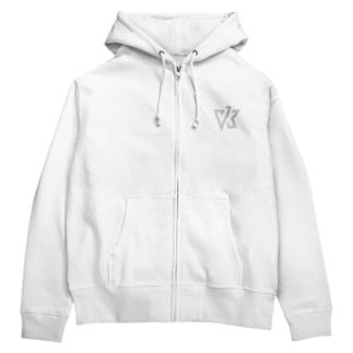 VK ロゴ ライトグレイ Zip Hoodies