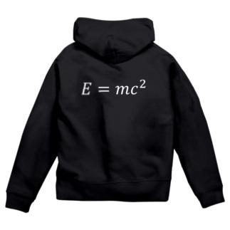 シンプルデザインE=mc^2 Zip Hoodies