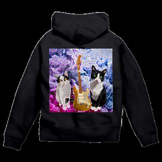 Anela'sGiftのロック猫 Zip Hoodies