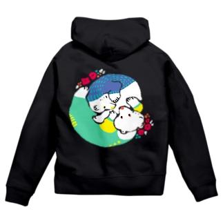 mya-mya=MIYA JUNKO's shop 02のクマとクマでぐるぐる Zip Hoodies