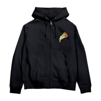 とろけるチーズピザでまどろむ猫 Zip Hoodies