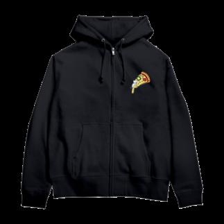 TAROPIのとろけるチーズピザでまどろむ猫 Zip Hoodies