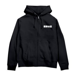 臨時休業white-logo Zip Hoodies