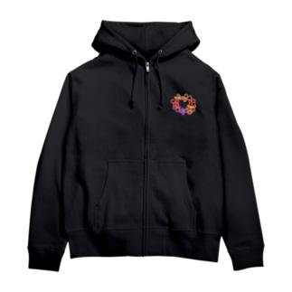 お花のわっか Zip Hoodies