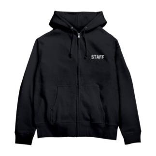 STAFF 白 Zip Hoodies