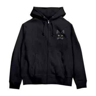 黒猫ジジ 全面 Zip Hoodies