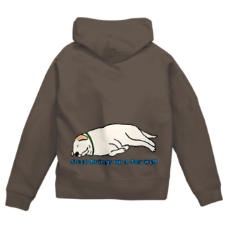 Dog Drawer Drawn by Dogの寝る犬は育ちすぎる? Zip Hoodies