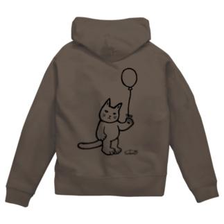 猫と風船(白黒) Zip Hoodies