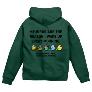 (両面)Chubby Bird (表)ネズミガシラハネナガインコ(セネガルパロット) (背面)ホオミドリウロコインコ、ネズミガシラハネナガインコ(セネガルパロット)、ムラクモインコ、ワカケホンセイインコ Zip Hoodies
