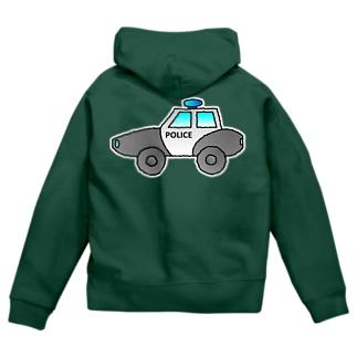 警察車両 Police Car Zip Hoodies