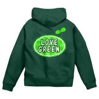 LOVE GREEN (ふたば) Zip Hoodies