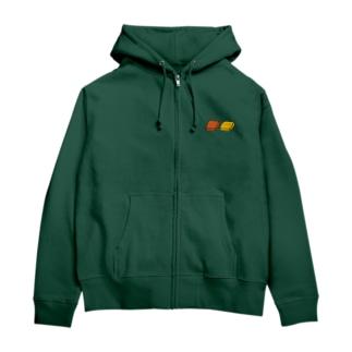 四角いグミ【深緑色用カラー】 Zip Hoodie