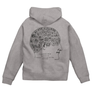 骨相学<アンティーク・イラスト> Zip Hoodies
