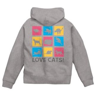 mojokinnのLOVE CATS! Zip Hoodies