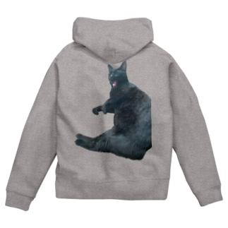 うちの猫:名前はボス、呼び方はけっけ Zip Hoodies