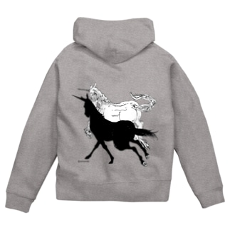 Monochrome Unicorn Zip Hoodies