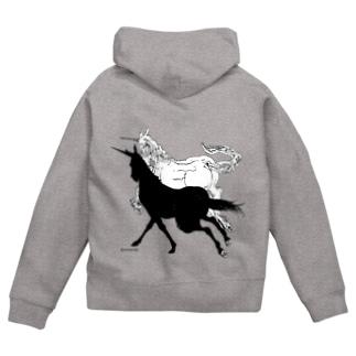 Monochrome Unicorn Zip Hoodies