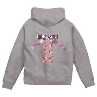 Pink × Lavender Lased-up Ribbon Zip Hoodies