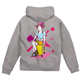 Travel Girl/濃色ジップパーカー Zip Hoodies