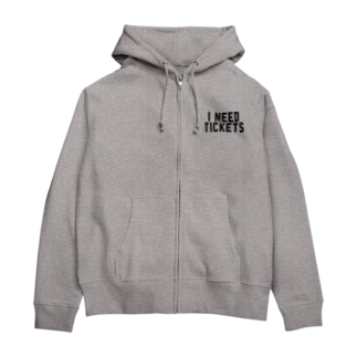 I NEED TICKETS - BLACK LOGO Zip Hoodies