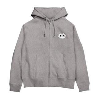 白猫ロロちゃん Zip Hoodies
