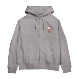 レッサーパンダ-ベレー帽- Zip Hoodies