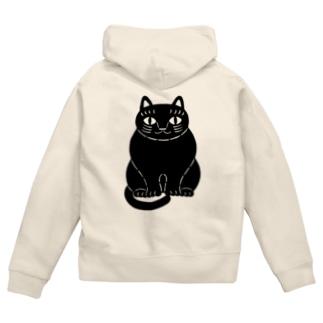 黒猫さん Zip Hoodies