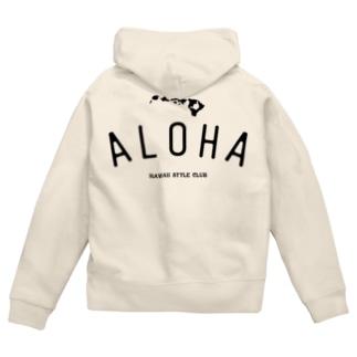 ALOHA ISLANDS  BLK LOGO Zip Hoodies