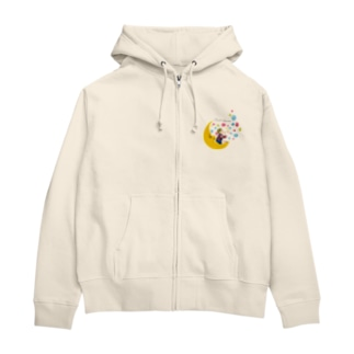Moon and boy Zip Hoodies