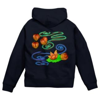 Lily bird(о´∀`о)のホオズキ 水紋背景(和柄) Zip Hoodies