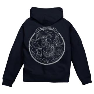 Sea constellation【クラゲ座のある海の星座】 Zip Hoodies