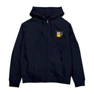 猫ビール(黄色) Zip Hoodies