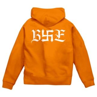 B卍Eデザイン 白 Zip Hoodies